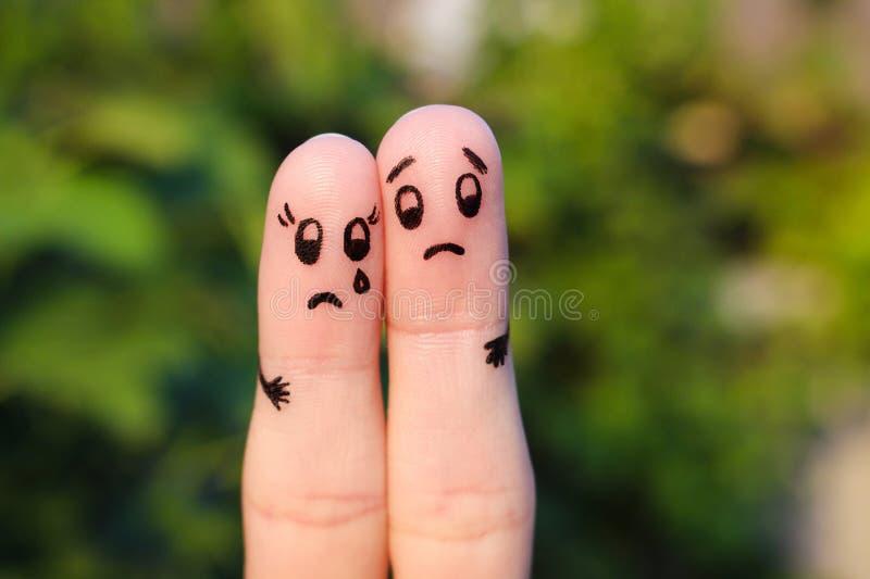 Finger art of displeased couple. stock photos