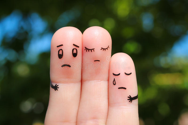 Finger art of displeased family. Concept of solution to problems. royalty free stock photos