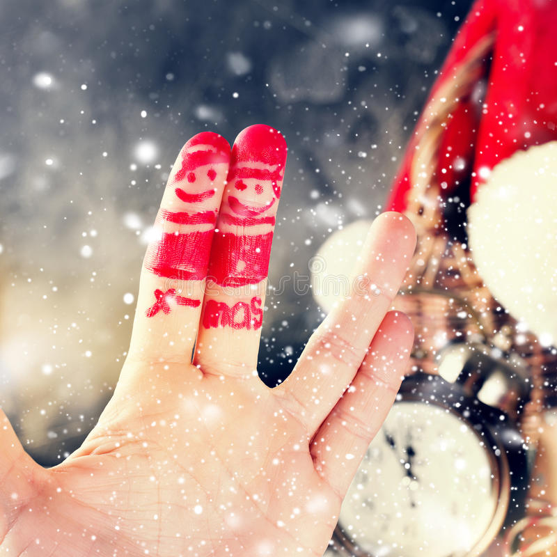 Finger Art Friends Celebrates Christmas Concept royaltyfria bilder