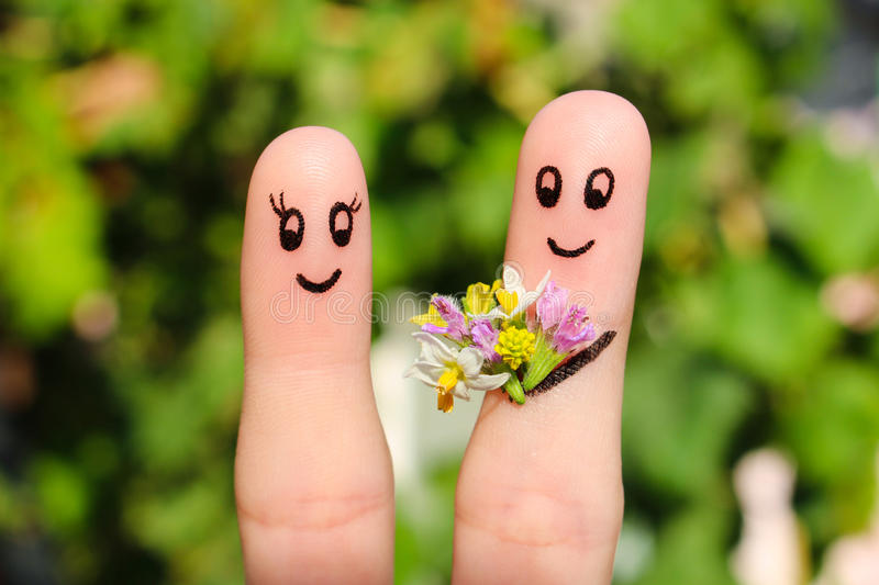 Finger art of a Happy couple. stock photography