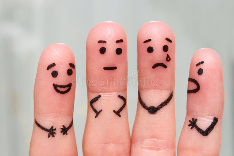 Finger art of people. The concept of group of people with different personalities. Finger art of people. concept of group of people with different personalities royalty free stock photo