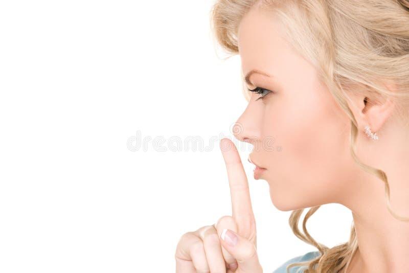 Finger auf Lippen lizenzfreies stockfoto