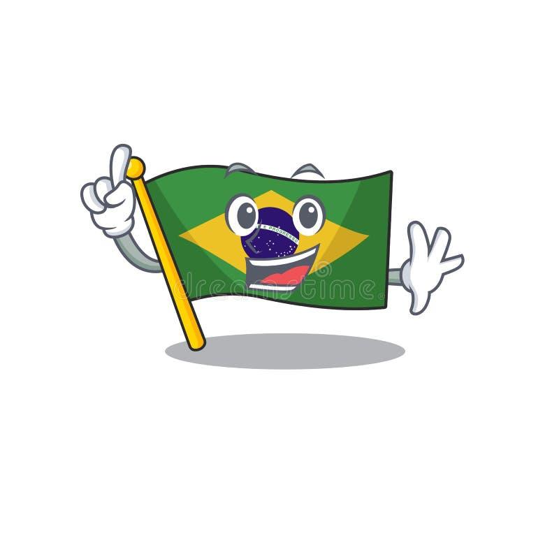 Finger brazil flag kept in mascot drawer. Illustration vector vector illustration