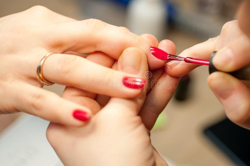 Finger care, cleaning in the beauty salon macro royalty free stock photo