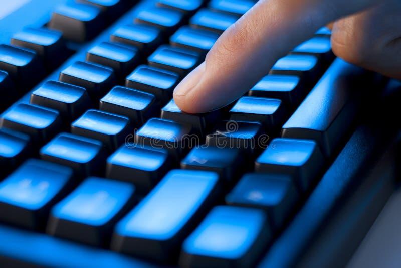 Finger Computer Keyboard royalty free stock image