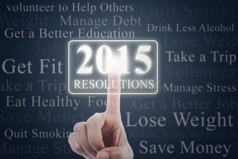 Finger con el botón de la resolución de 2015 imágenes de archivo libres de regalías