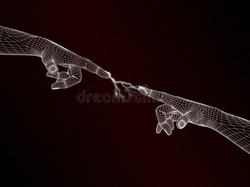 Finger connect wireframe vector illustration