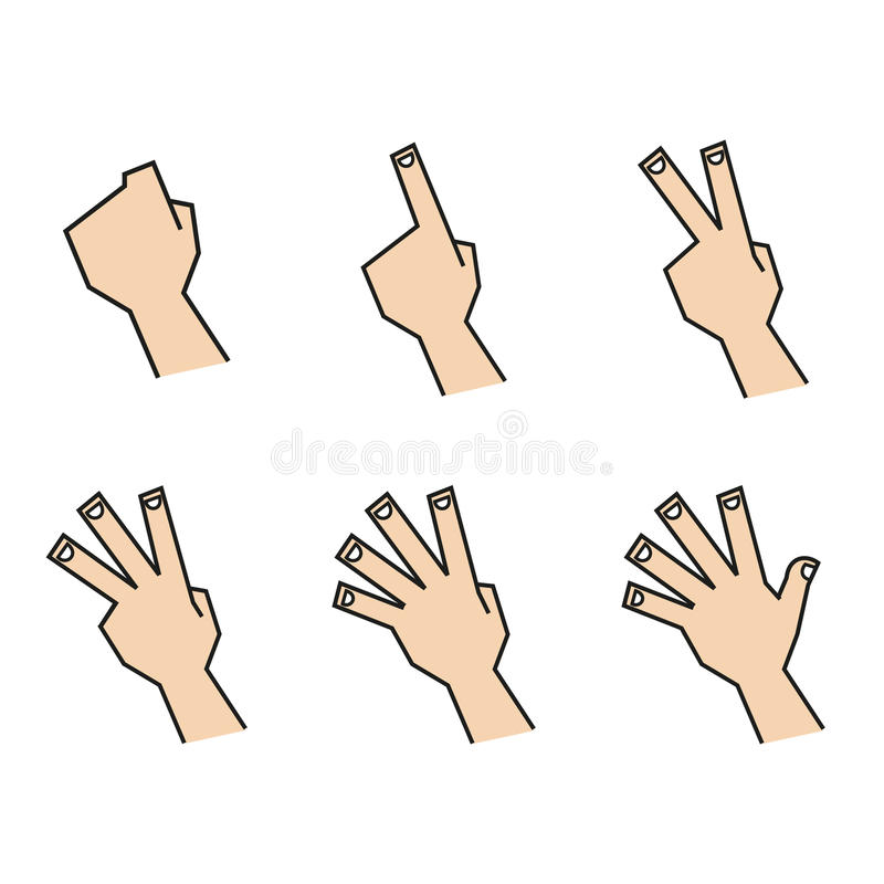 Finger Counting Hands Back View stock photos