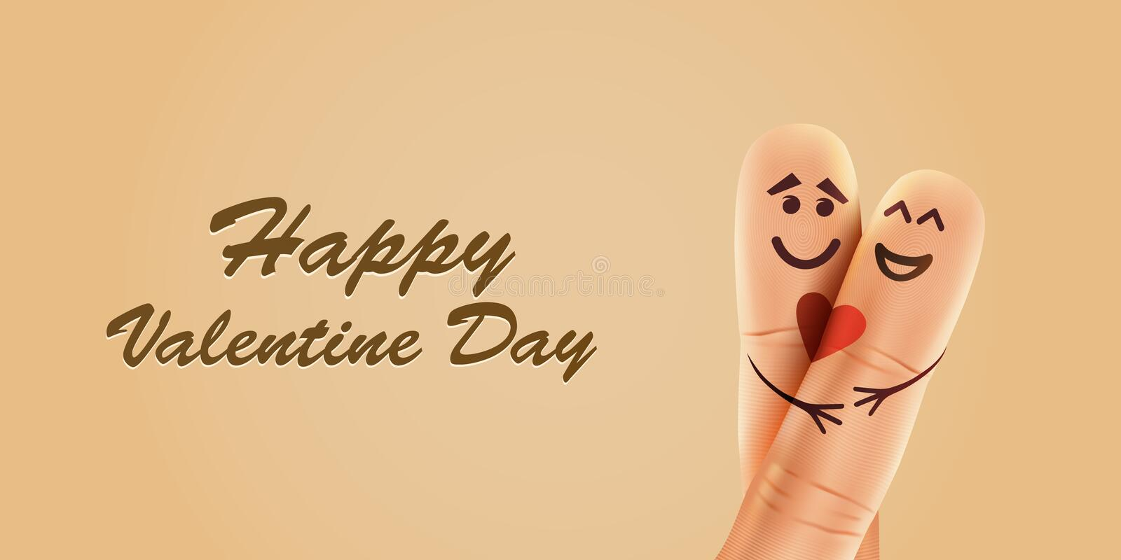 Finger couple in love with painted smiley and hugging vector illustration