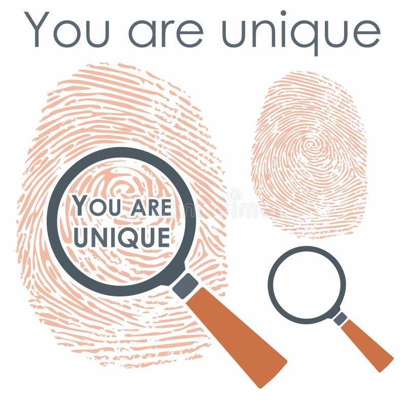 Finger de Digitaces con la lupa y el mensaje libre illustration
