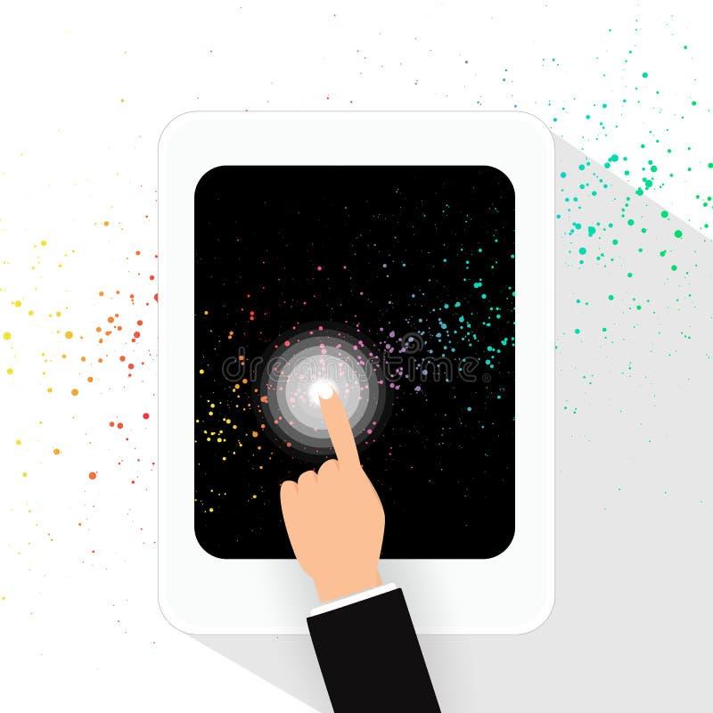 Finger de la pantalla táctil del hombre de negocios en tecnología digital de la tableta stock de ilustración