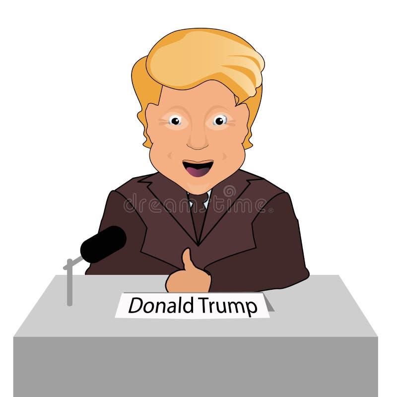 Finger de la sonrisa del presidente de Donald Trump encima de elecciones de 2016 Silla presidencial Éxito de la lucha Da una entr stock de ilustración
