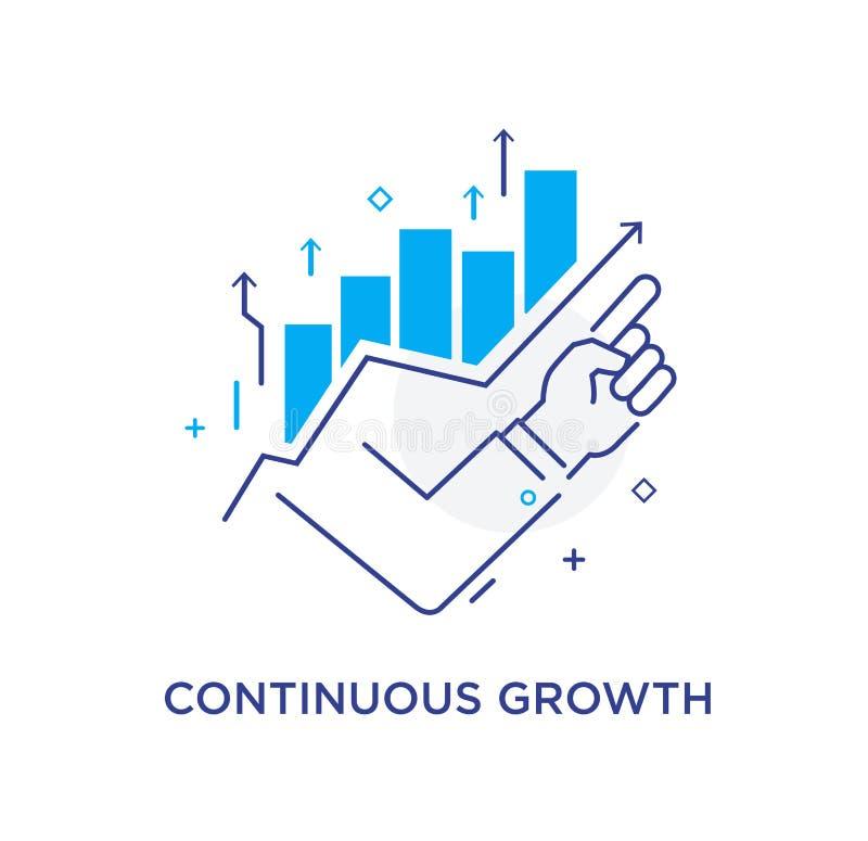 Finger del hombre de negocios que señala hacia arriba Escuela de Negocios del entrenamiento Carta de crecimiento Ejemplo común de stock de ilustración