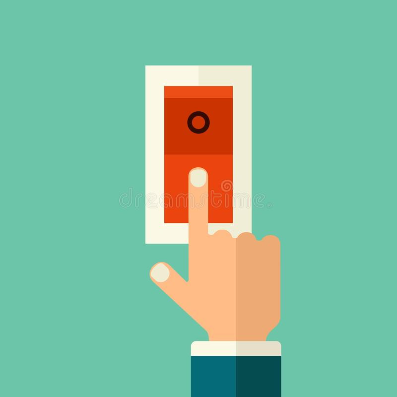 Finger del vector que presiona en el botón rojo Ejemplo plano del concepto del estilo del botón stock de ilustración