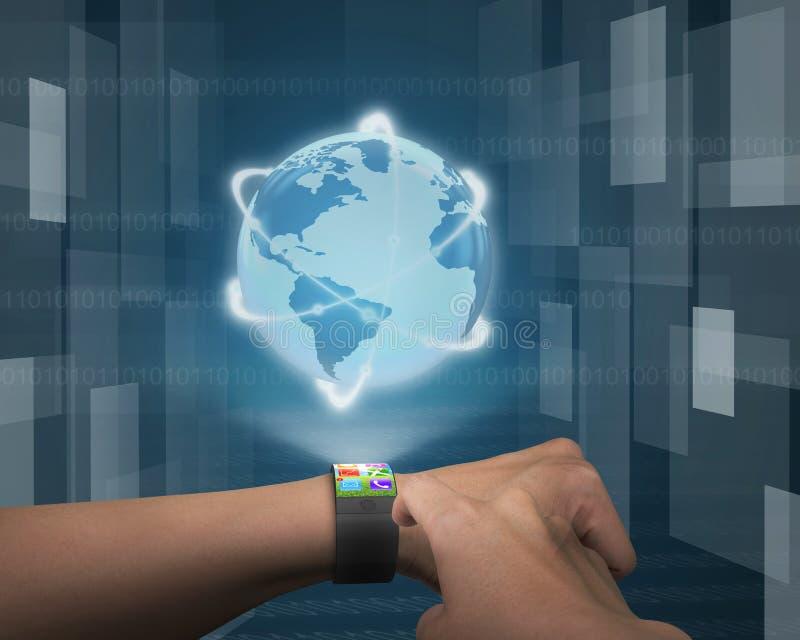 Finger, der APP auf ultradünnem verbogenem Schnittstelle smartwatch berührt vektor abbildung