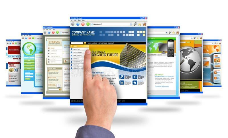 Finger, der auf Internet-Web site zeigt lizenzfreie abbildung