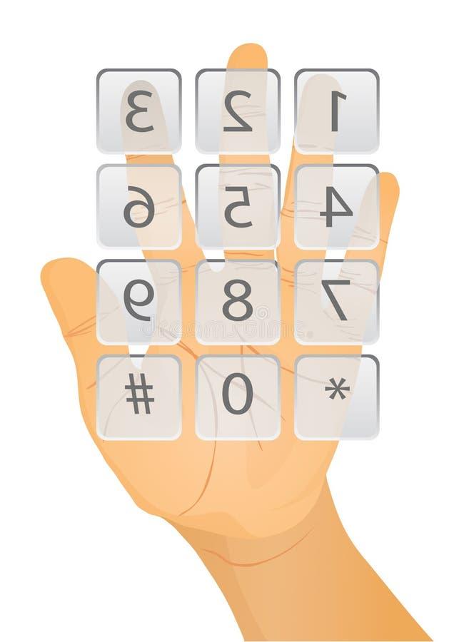 Finger, der auf Taste sich betätigt stock abbildung