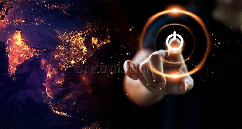 Finger, der An-/Aus-Schalter-Energie auf Erde am Nachthintergrund drückt Umweltslogans, Sprechen und Phrasen über die Erde, die N vektor abbildung