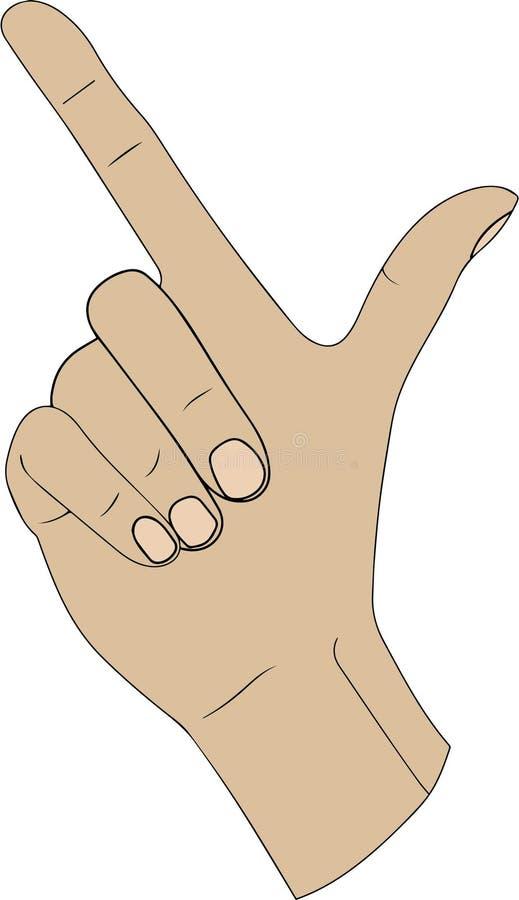 Finger, der den Alphabetbuchstaben L in der amerikanischen Handgebärdensprache buchstabiert stock abbildung