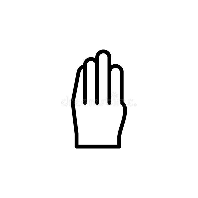 Finger der Hand 4 gestikulieren Entwurfsikone Element der Handzeichenillustrationsikone Zeichen, Symbole können für Netz, Logo, M stock abbildung