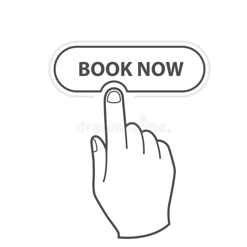 Finger, der jetzt Reservierungsikone Knopf Buches - drückt lizenzfreie abbildung