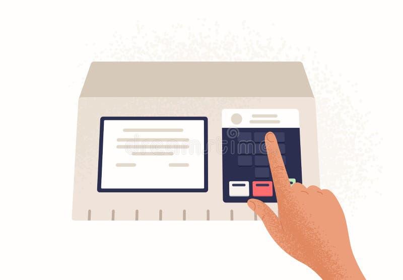 Finger, der Knopf auf dem elektronischen Wahlautomaten lokalisiert auf weißem Hintergrund drückt Gerät benutzt in der politischen lizenzfreie abbildung