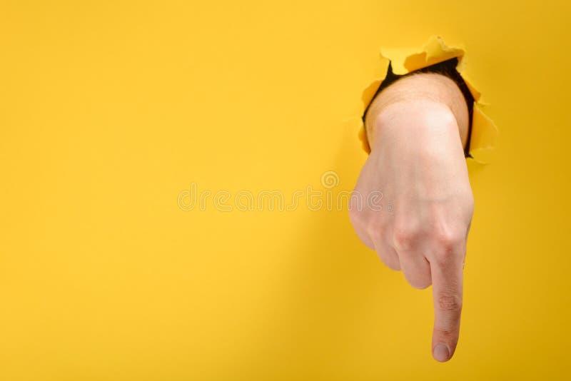 Finger, der unten zeigt lizenzfreie stockfotografie