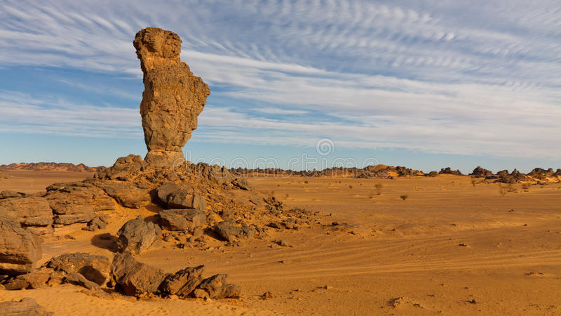 Finger des Allah-Felsens - Akakus (Acacus) Berge stockfotos