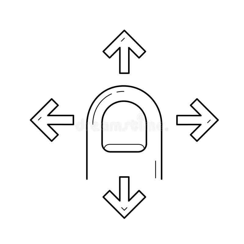 Finger drag four side line icon. stock illustration