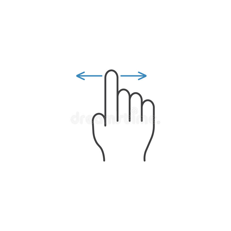 Finger Drag line icon, touch and hand gestures stock illustration