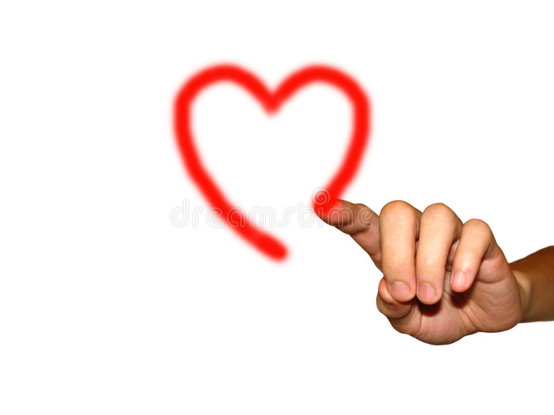 Finger drawing a heart stock photo