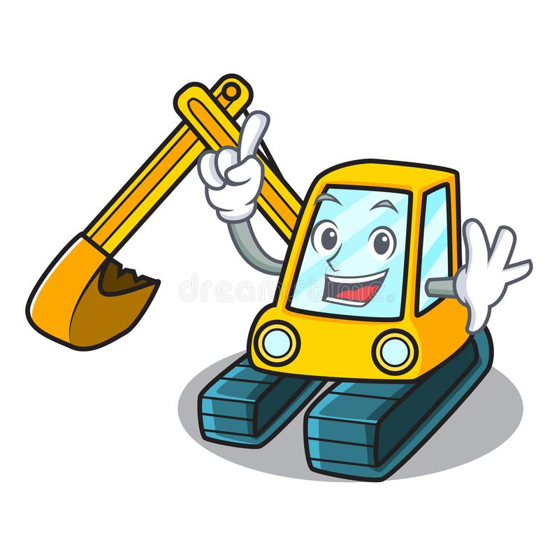 Finger excavator mascot cartoon style royalty free illustration