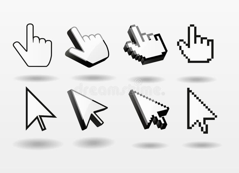 Finger för symbol för markör för dator för uppsättning för muspekare royaltyfri illustrationer