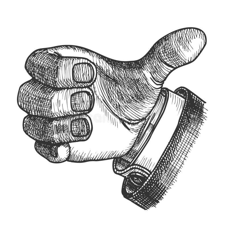 Finger för tumme för manhandgest upp klottervektor vektor illustrationer