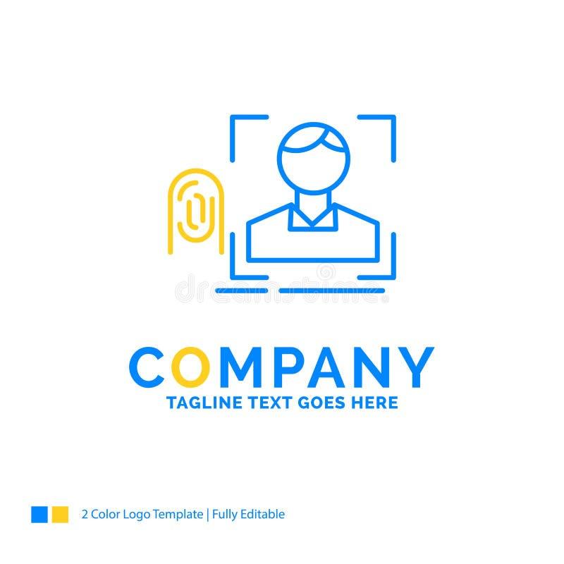 finger fingeravtryck, erkännande, bildläsning, avläsande blå gul buss vektor illustrationer