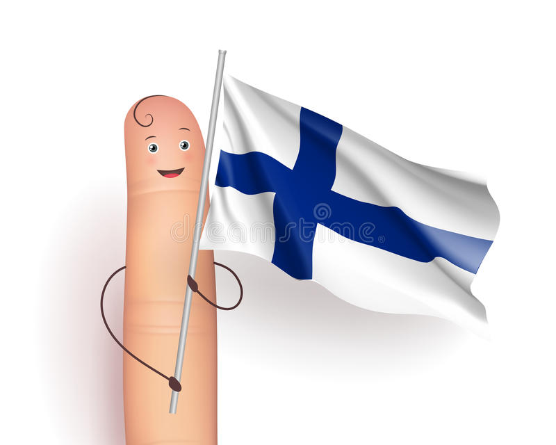 Finger with Finland flag. Finger holding Finland, waving flag. Politics and geography concept. Carried in a procession. Realistic vector illustration on white stock illustration