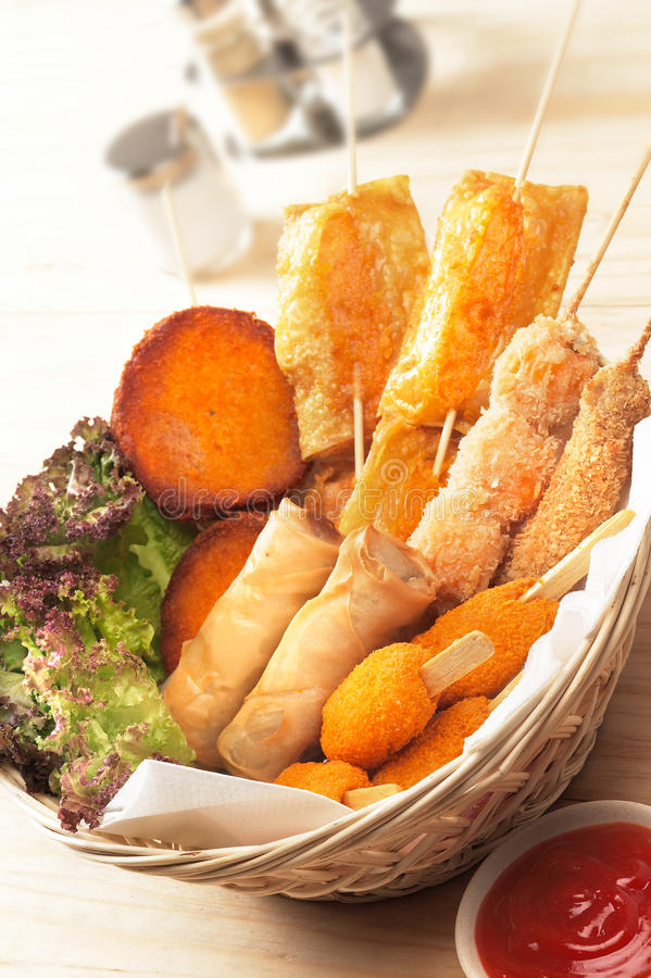 Finger food. Several various kinds of finger food ready to be served stock photos