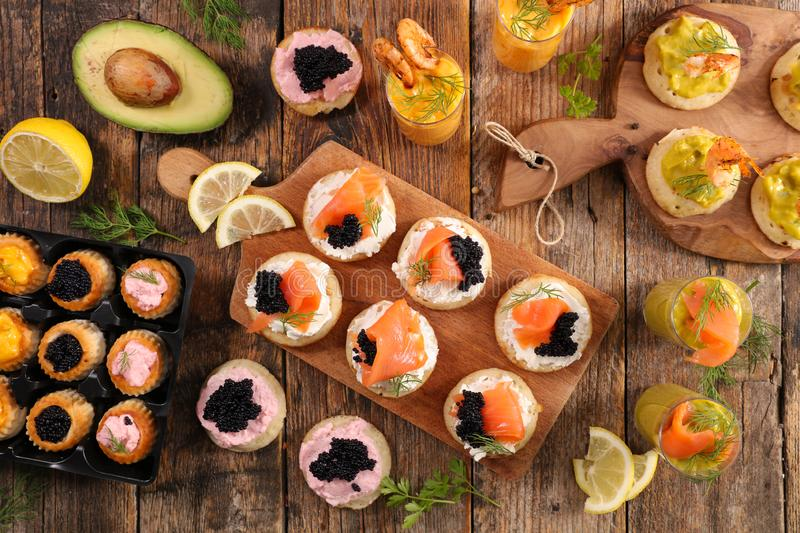 Finger food, buffet food stock image