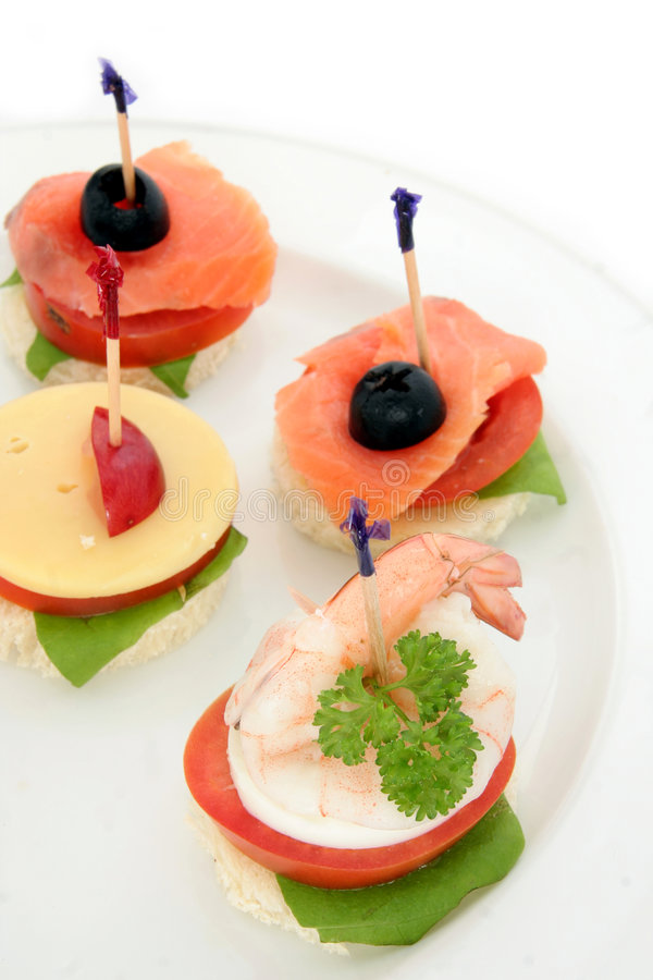 Finger food or canape royalty free stock photo