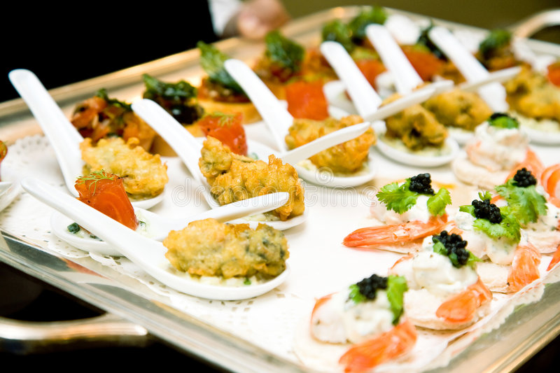 Finger food ready for the reception stock photography