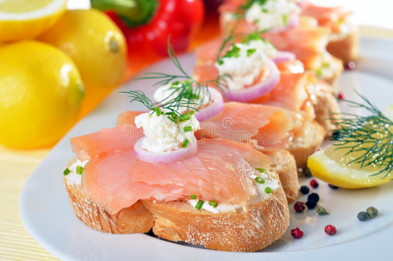 Finger-food with salmon royalty free stock image