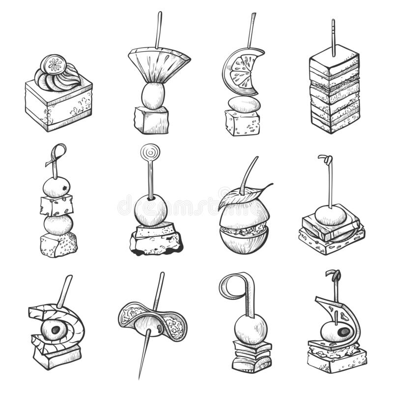 Finger food sketch, banquet catering small meal vector illustration