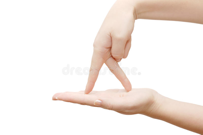 Finger Gehen Die Geöffnete Palme Stockfoto
