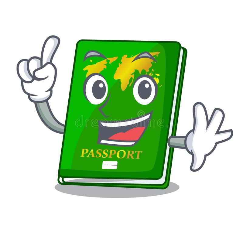 Finger green passport on the mascot table. Vector illustration stock illustration