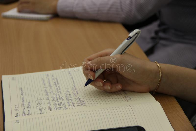 Finger, Hand, Close Up, Writing stock photo