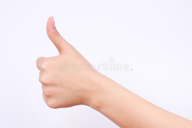 Finger hand girl symbols the concept like and best excellent good button on white background. The finger hand girl symbols the concept like and best excellent royalty free stock image