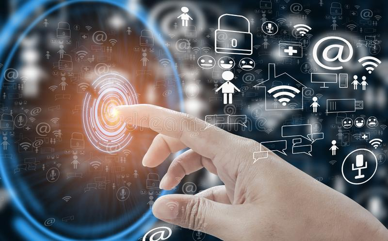 Finger hand point touch button open interface into social media world,with concept internet of things, fast 5g technology, cloud stock illustration