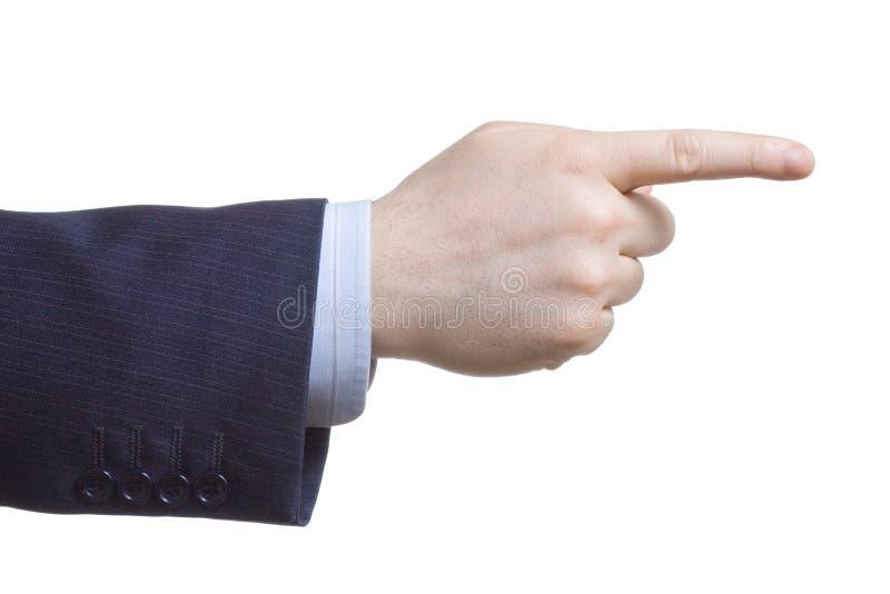 finger hans peka för man arkivfoto