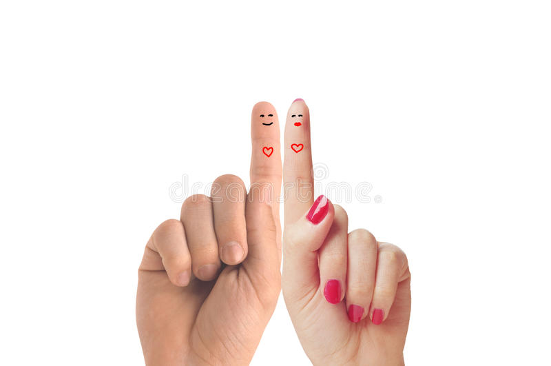 Finger happy couple in love with painted smiley royalty free stock photos