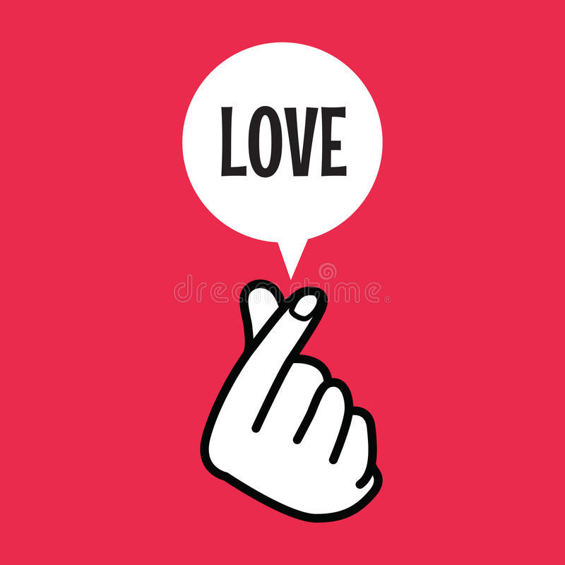 Finger Heart Sign Symbol With Love Balloon Text Stock Vector